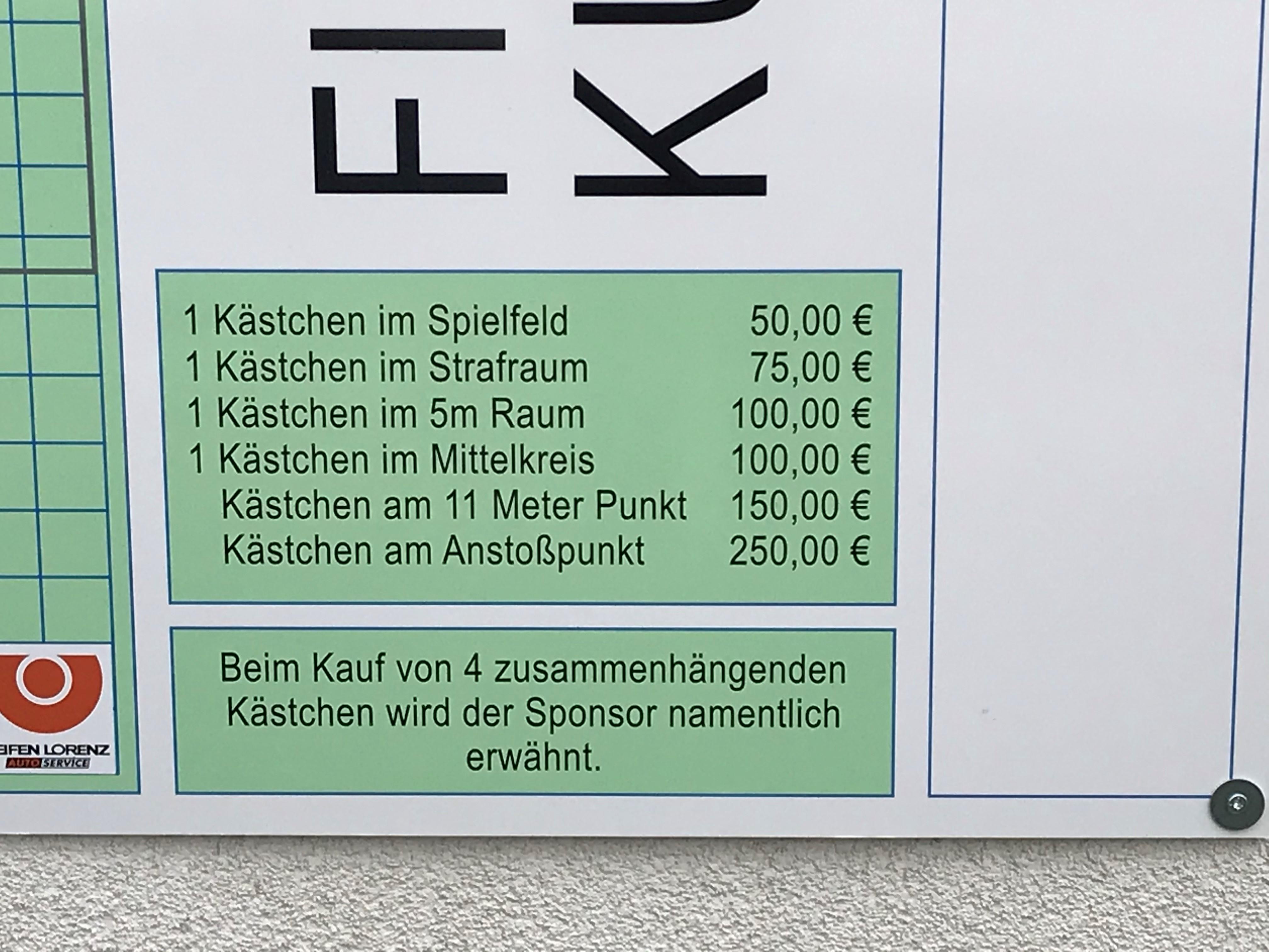 Kunstrasenplatz Preisübersicht