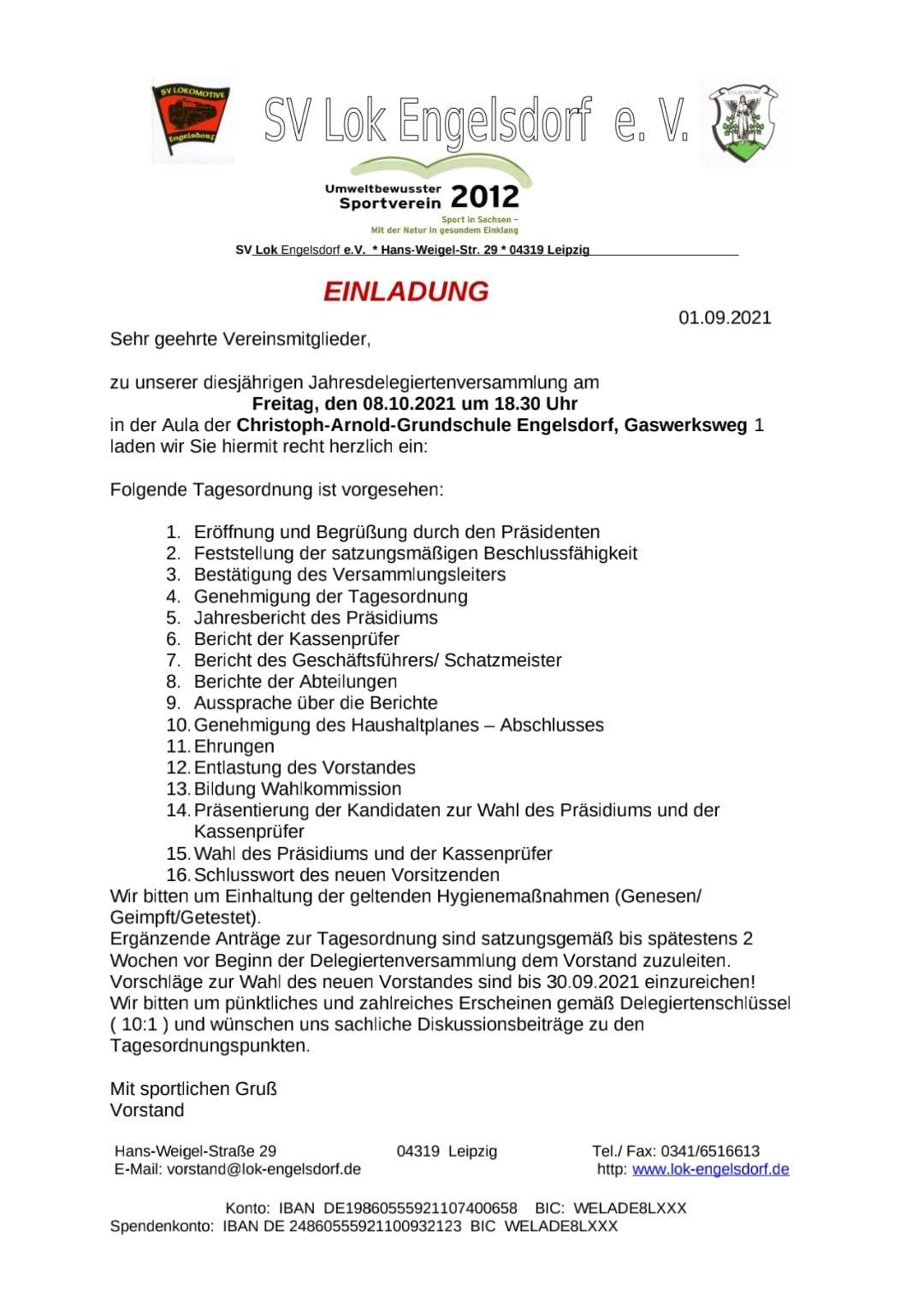 Einladung zur Jahresdelegiertenversammlung